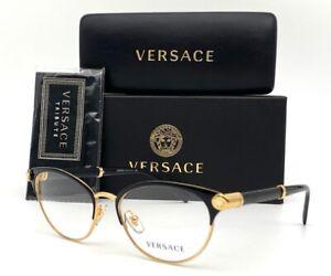 VERSACE VE1259Q 1443  Black Gold / Demo Lens 52mm Eyeglasses