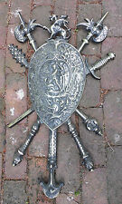 Metal Shield Weapons Ornate Coat of Arms Crest Wall Plaque Vintage Medieval Mace