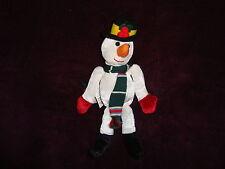 "Gund Jolly Jiggles #8705 Snowman Plush Christmas Ornament W/Tags 8"" tall"