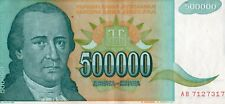 YUGOSLAVIA 1993 500,000  DINARA CURRENCY