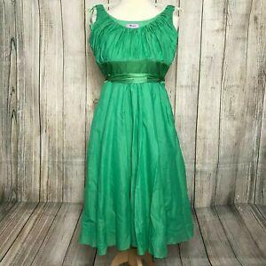 Beautiful Green MONSOON Silk Tie Dress Size 8 VGC