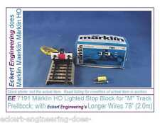 """EE 7191 New Marklin HO M Track Stop Block Lighted 78"""" Wire Recent Style with OBX"""