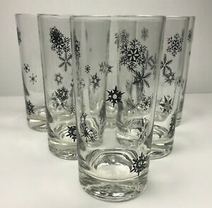 """Lot of 6 Snowflake Tumbler 5.5"""" Drinking Glasses MCM Black & Clear Winter"""