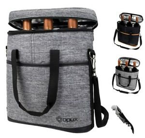 Insulated Wine Carrier Tote Bag 3 Bottle Padded Cooler Bag with Free Corkscrew