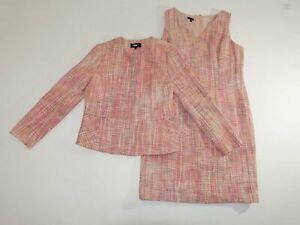 Talbots Women's Dress Jacket Set Size 14 / 12 Petite Pink Multi Cotton Blend