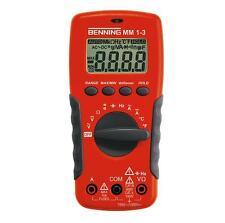 Benning MM 1 3 Digital Multimeter mit Schutztasche und Sicherheitsmessleitungen