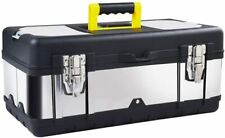 16-inch Tool Box Stainless Steel Consumer Storage with Removable Tool Tray Black