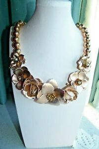 JEWELLERY GORGEOUS PINK/GOLD OR ROSE GOLD FLORAL STATEMENT NECKLACE 49
