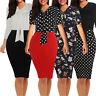 Womens Casual Pencil Dress Short Sleeve Office Wear Bodycon Cocktail Skirt Dot