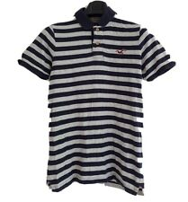 HOLLISTER Surfer Cut Men's Grey/Navy Striped Short Sleeve Polo Shirt.Size Medium