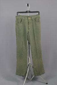 Men's 1960s Levis Big E Green Striped Sta-Prest Pants 31x31 60s Vtg Slacks