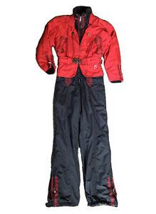 BOGNER WOMENS BLACK Red one piece Snow Ski Suit  size 4 Vtg Vintage Nice 👍😎😍