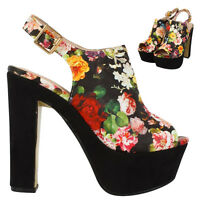 WOMENS FLORAL PRINT ANKLE STRAP LADIES PLATFORM CHUNKY HIGH HEEL SANDALS SHOES