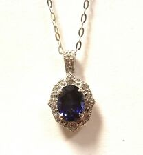New 925 Sterling Silver created Blue White Sapphire pendant necklace 2.4g