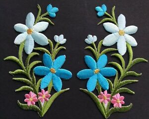 FLOWER PATCH X 2; Light Blue/Pink with Gold, matching pair *SEW-ON or IRON-ON*