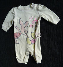 Baby clothes GIRL 0-3m NEW! Disney/George Pooh Bear beige babygrow frills/ back