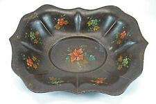 Antique Painted Toleware Dish, Platter or Tray, Dutch.