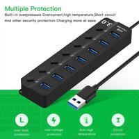 7 Port USB 3.0 Hub Powered Splitter High Speed External Laptop Power Adapter US