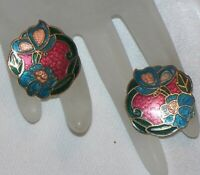 VINTAGE BIG CLOISONNE FLOWER & BUTTERFLY PIERCED EARRINGS H832