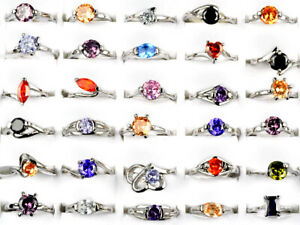 30/50Pcs Wholesale Lots Rings Silver Plated Crystal Wedding Band Rings Jewelry
