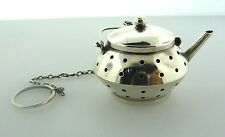 STERLING SILVER STRAINER TEA POT STAMPED FUN ADORABLE