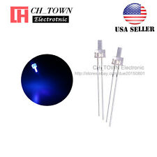 100pcs 2mm LED Diodes Water Clear Blue Light Flat Top Transparent USA