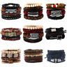 Mens Womens Stretch Multi Row Leather Bracelet Surfer Bead Wristband Black Brown
