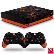Futuristic Tech Orange Squares XBOX ONE X Skin Decal Sticker Wrap