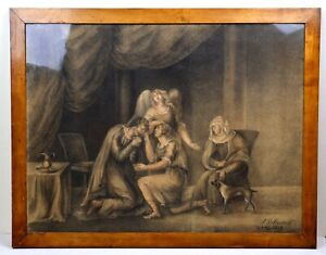 1813 Large Neoclassic Academy Work SOLACE Grisaille Drawing by Woman Artist