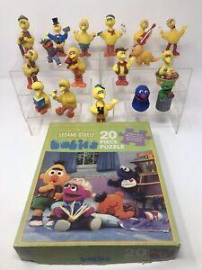Vintage Sesame Street Babies Jigsaw Puzzle & PVC Toy Figures! Big Bird, Grover