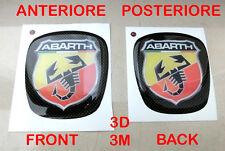 ADESIVO 3D STICKER STEMMA FIAT ABARTH GRANDE PUNTO BAULE ANTERIORE + POSTERIORE