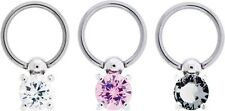 A Clear Gem. Nipple Ring With