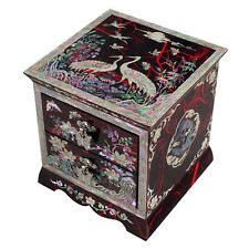 Mother of Pearl Red Lacquer Jewellery Drawer Jewel Treasure Trinket Keepsake Box