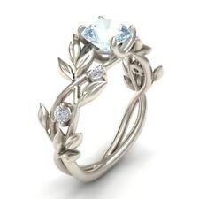 Women 925 Silver Floral Leaf Ring Transparent Aquamarine Wedding Jewelry Sz 6-10