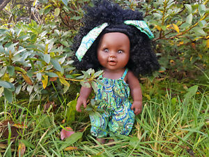 """Afro Imani African Black Doll 12"""" Lovely Girl Doll in Jumpsuit 30cm"""