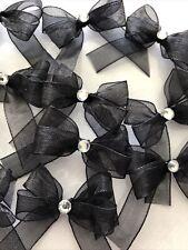 25 Small 3.5cm Black Organza Bows With Diamanté's /Christmas/Crafts