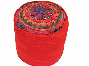 """Red Round Pouf Seating Footstool Cover Floral Embroidery Ottoman Slipcover 16"""""""