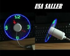USB Powered LED Cooling Neon Real Time Display Function Clock Fan SPTIME US
