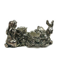 Arthur Court 1998 Silver Metal Rabbit Easter Candlestick Holder Salt Pepper VTG