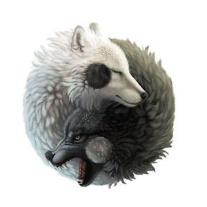 Yin Yang Wölfe Wolf Tiere Tier Aufkleber Sticker Buddhismus Peace Frieden Yoga