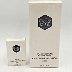 Vintage Ombre Rose 3 oz Cologne New Sealed and .16 Parfum Lot Brosseau FR2