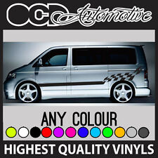 VW TRANSPORTER SIDE  STRIPE CHEQUER GRAPHICS STICKER DECALS KIT T4 T5 T6
