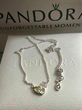 Genuine Pandora Interlocked Hearts Two Tone Collier Chain Necklace - 590517-45