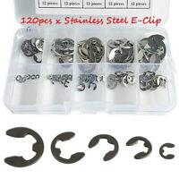 120x Inoxydable E-Clip Agrafe Circlips de Retenue Assortiment Kit 1.5-10mm Noir