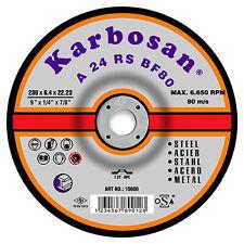 """KARBOSAN 230mm 9"""" INCH STEEL METAL GRINDING DISC BOX OF 5"""