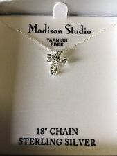 "Madison Studio Sterling Silver Cross Pendant On 18"" Chain New In The Box"