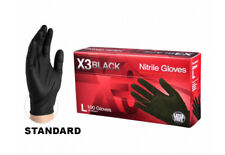 100 COUNT ** AMMEX X3 Black Nitrile Industrial Latex Powered Free XL Gloves