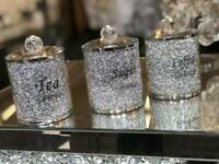 DIAMOND CRUSHED SILVER CRYSTAL FILLED TEA COFFEE SUGAR CANISTERS JARS STORAGE