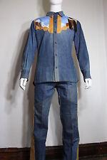 vintage Antonio Guiseppe denim suit L/Xl pants jacket 70s native american custom