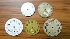 5 Vtg Pocket or Watch Faces Elgin Waltham Merrimac Mixed Parts For Repair As Is